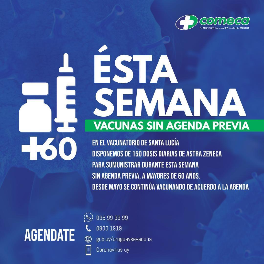 Esta semana en el vacunatorio Santa Lucía te podes vacunar